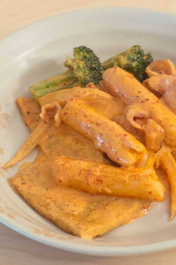 spicy carbonara tteokbokki
