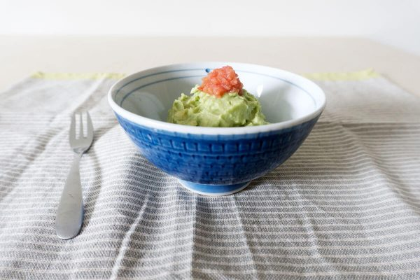 avocado mash with salted pollack roe