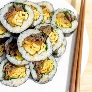 Newlyweds Diary Beef and Kimchi Gimbap