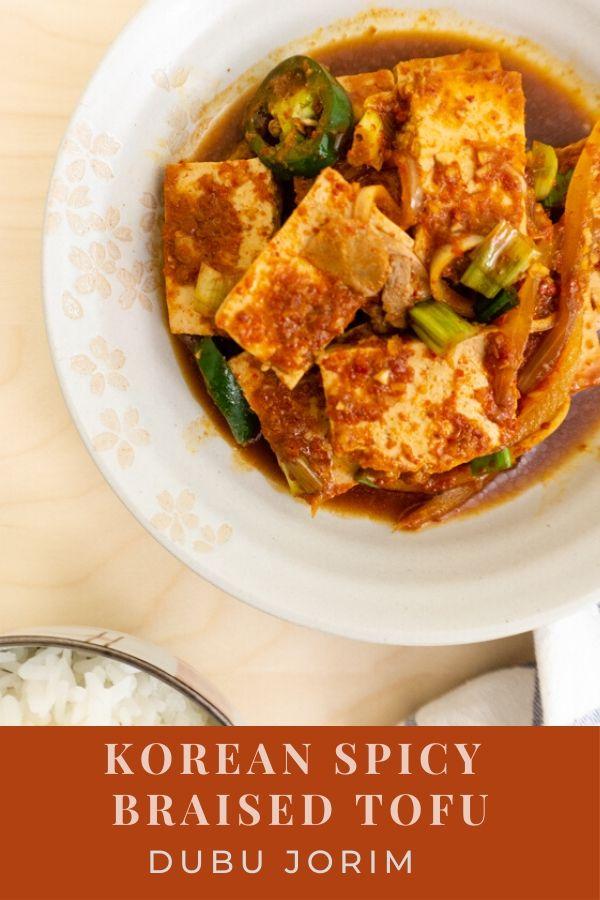 Korean Spicy Braised Tofu with Pork (dubu jorim)