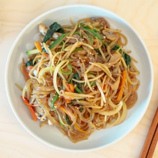 Kongnamul Japchae (Korean Stir-Fried Soybean Sprout Glass Noodles) – Soo-mi's Side Dishes