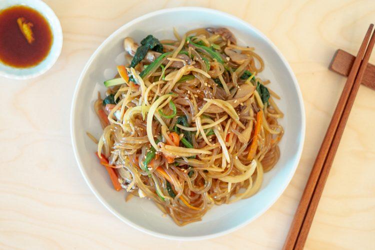 Kongnamul Japchae (Korean Stir-Fried Soybean Sprout Glass Noodles)
