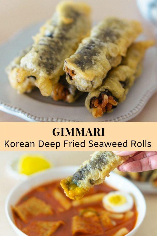 Gimmari (Korean Deep Fried Seaweed Rolls)